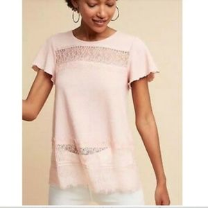 Anthropologie Deletta Pink Lace Tee S
